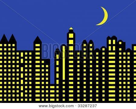 Illustration of modern city skyline illuminated at night with moon in sky.