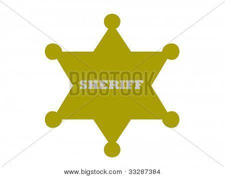 Sherrif badge isolated on white background.