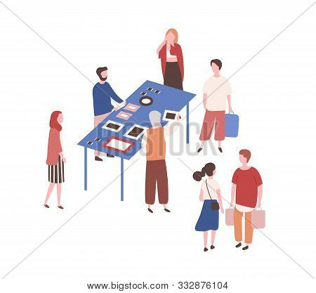 Flea Market Flat Vector Illustration. People Buying Used Art Items. Paintings And Photo Frames Selli