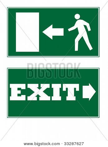 Two emergency exit signs isolated on white background.