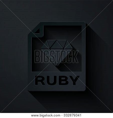 Paper Cut Ruby File Document. Download Ruby Button Icon Isolated On Black Background. Ruby File Symb