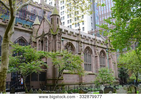 New York, NY - 05 NOV 2019:  Chapel of All Saints at Trinity Church, a historic parish church in the Episcopal Diocese of New York located near the intersection of Wall Street and Broadway.
