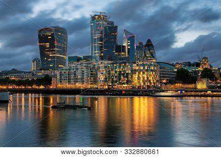 London City. Financial District Of London Uk At Night