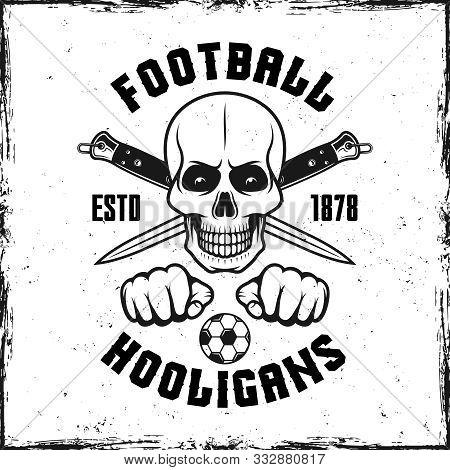 Hooligan Skull Vintage Emblem With Two Crossed Knives Vector Illustration