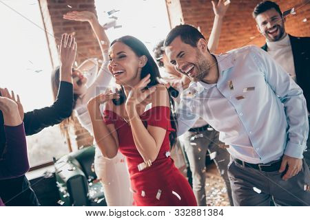 Photo Of Crowd Group Best Friends Dance Floor Congratulating Girlfriend Birthday Party Fellowship We