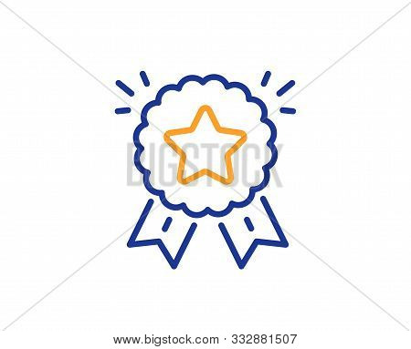 Winner Medal Sign. Ranking Star Line Icon. Best Rank Symbol. Colorful Outline Concept. Blue And Oran