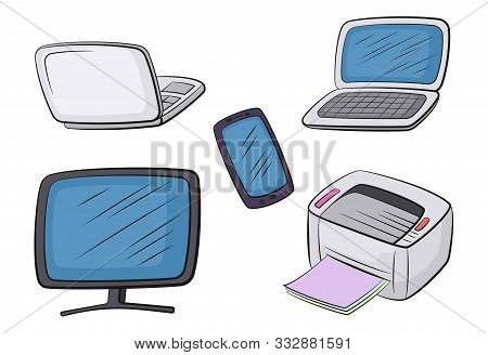 Group Of Computer Equipment Icons. Monitor, Printer, Laptop And Smartphone. Office Digital Electroni