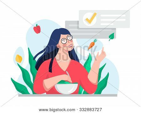 Woman On Diet. Idea Of Healthy Nutrition And Meal Portion.