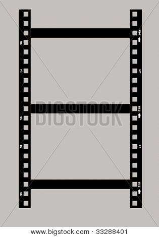 Black and white photographic film negative isolated on white background.