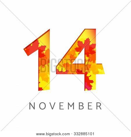 14 Th Of November Calendar Numbers. 14 Years Old Autumn Logotype. Anniversary Digits With Leaves. Is