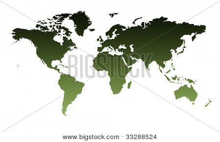 Two dimensional illustration of Planet Earth map in graduated green, isolated on white background.