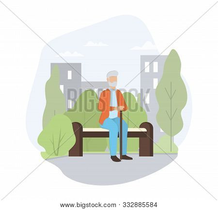 Old Man Sitting On The Bench In The Park. Elder Person Life