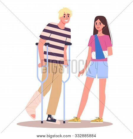 Disabled People Set. Men And Women With Crutches