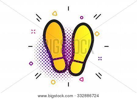 Imprint Soles Shoes Sign Icon. Halftone Dots Pattern. Shoe Print Symbol. Classic Flat Shoes Icon. Ve