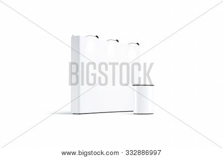 Blank White Trade Show Booth Mockup, Half-turned View, 3d Rendering. Empty Expo Counter With Banner