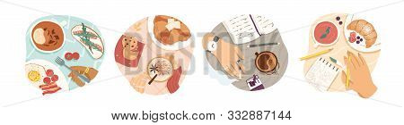 Breakfast Types Vector Illustrations Set. Morning Meal, Coffee And Tea, Omelette And Croissant Top V