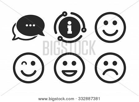 Happy, Sad And Wink Faces Symbol. Chat, Info Sign. Smile Icons. Laughing Lol Smiley Signs. Classic S