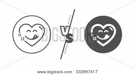 Emoticon With Tongue Sign. Versus Concept. Yummy Smile Line Icon. Comic Heart Symbol. Line Vs Classi