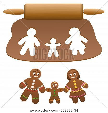 Gingerbread Family, Father, Mother, Child. Happy Parents With Their Son Cut Out Of Lebkuchen Dough.
