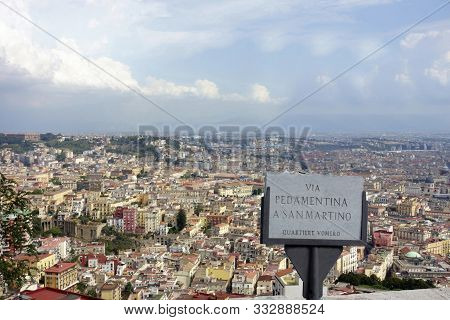 Beautiful Panoramic View Over The City Of Naples From Vomero Hill