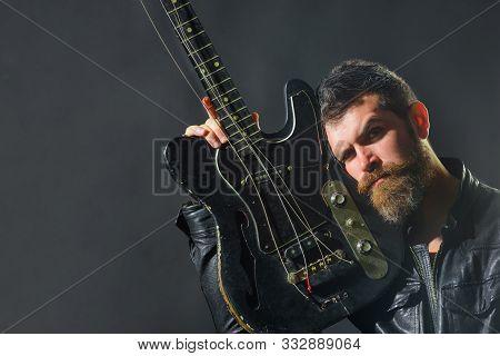 Musical Instrument. Rocker, Musician. Guitar Player, Guitarist, Musician. Guitarist With Electric Gu