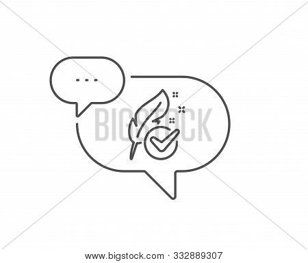 Hypoallergenic Tested Line Icon. Chat Bubble Design. Feather Sign. No Synthetic Symbol. Outline Conc