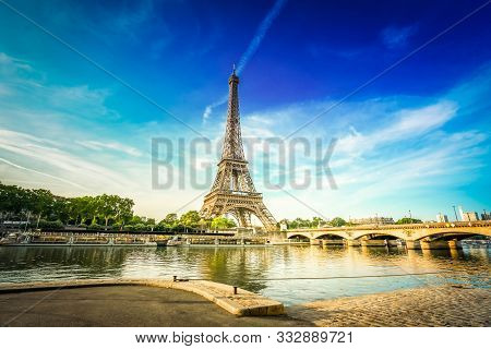 Paris Eiffel Tower Reflecting In River Seine With Bridge Pont Diena In Paris, France. Eiffel Tower I