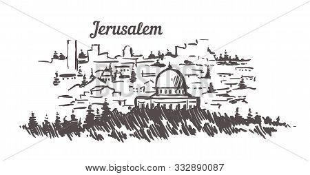 Jerusalem Skyline Sketch. Jerusalem Hand Drawn Illustration.