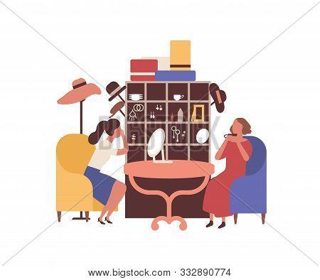 Flea Market, Rag Fair Flat Vector Illustration. Women Accessories Seller And Customer Faceless Chara