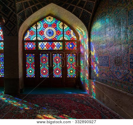Iran, Shiraz - May 2019: Interior Scene With Stained Glass Windows Of Nasir Al-mulk Mosque In Shiraz