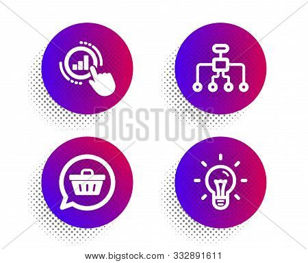 Graph Chart, Shopping Cart And Restructuring Icons Simple Set. Halftone Dots Button. Idea Sign. Get