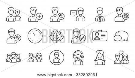 User Person Line Icons. Profile, Group And Support. People Linear Icon Set. Quality Line Set. Vector