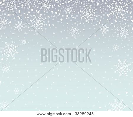 Holiday Snowflake Pattern, Christmas Background With Falling Snowflakes. Vector Illustration.