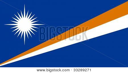 Sovereign state flag of country of Marshall Islands in official colors.