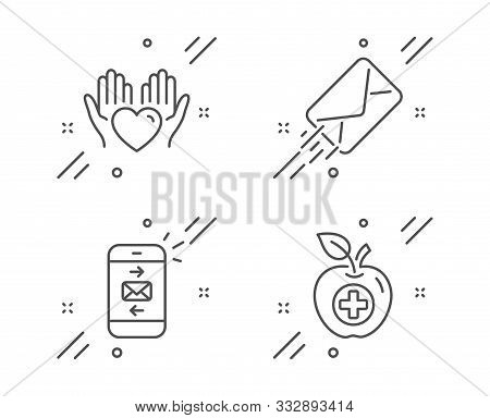 E-mail, Hold Heart And Mail Line Icons Set. Medical Food Sign. Mail Delivery, Care Love, Smartphone