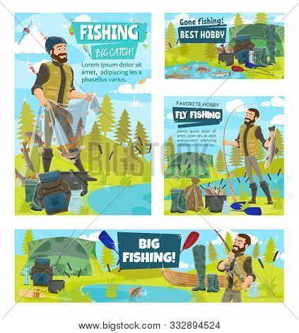 Fishermen And Caught Fish Banners Of Fishing Sport Vector Design. Fishers Or Anglers With Fishing Ro
