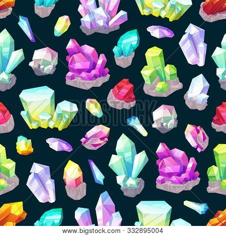 Crystals, Gem Stones And Rocks, Minerals And Gemstones Seamless Pattern Background. Vector Quartz, D