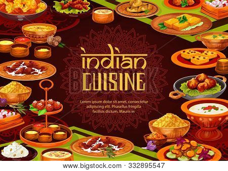 Indian Food Vector Design Of Rice Pilau With Chicken Curry, Lentil Seafood Soup And Milk Dessert, Pa