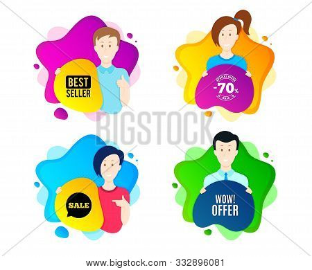 Wow Offer. People Shape Offer Badge. Special Sale Price Sign. Advertising Discounts Symbol. Dynamic