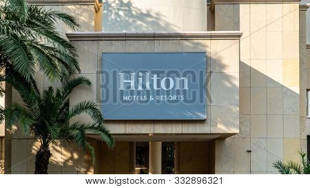 Johannesburg, South Africa - October 2019: The Sign For A Hilton Hotel In Johannesburg, South Africa