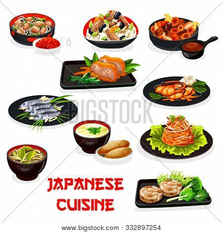 Japanese Cuisine Baked Meat And Fish Vector Dishes With Vegetables, Chicken Rice, Eggs And Seaweed,