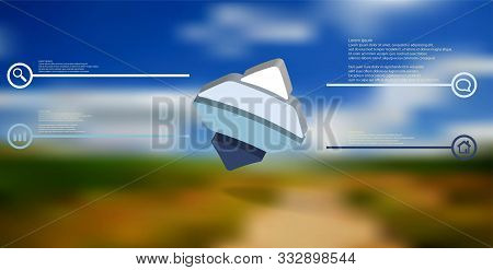 3d Illustration Infographic Template. The Embossed Bent Rhomb Is Horizontally Divided To Four Color