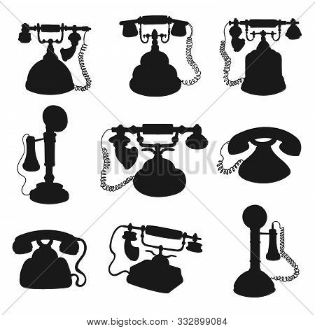 Retro Phone And Vintage Telephone Black Silhouettes. Old Rotary Dial And Candlestick Telephones Vect