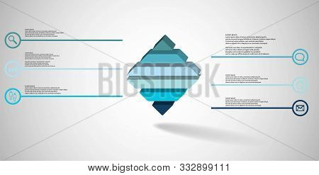 3D Illustration Infographic Template With Embossed Rhomb Horizontally Divided To Six Parts