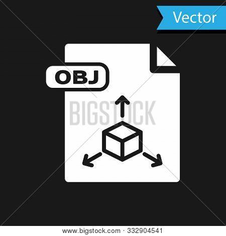 White Obj File Document. Download Obj Button Icon Isolated On Black Background. Obj File Symbol. Vec