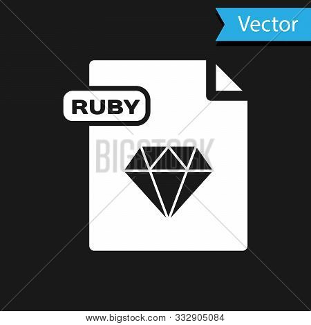 White Ruby File Document. Download Ruby Button Icon Isolated On Black Background. Ruby File Symbol.
