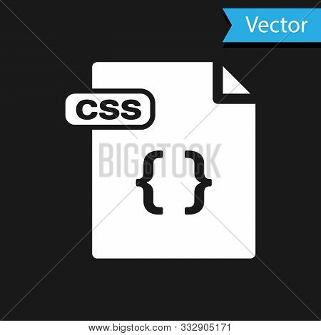 White Css File Document. Download Css Button Icon Isolated On Black Background. Css File Symbol. Vec