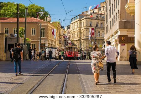 Istanbul, Turkey - September 9th 2019. The Famous Nostalgic Tram Running From Taksim To Tunel Along