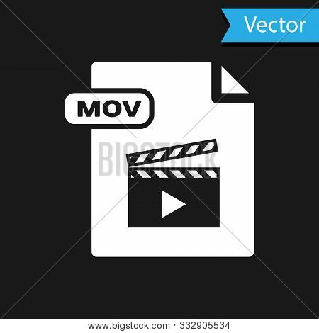 White Mov File Document. Download Mov Button Icon Isolated On Black Background. Mov File Symbol. Aud