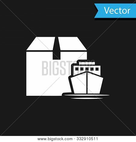 White Cargo Ship With Boxes Delivery Service Icon Isolated On Black Background. Delivery, Transporta